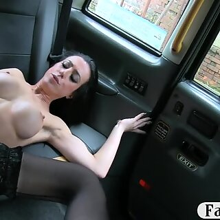 Big boobs passenger in stockings railed by the driver