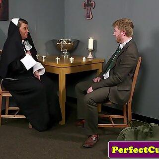 Plump brit nun cocksucking until face spunked