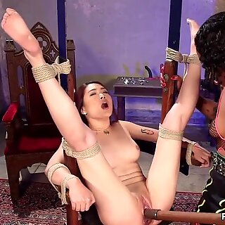 Ebony dom toys butt plugged Asian