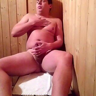 Amateur jerking in public sauna