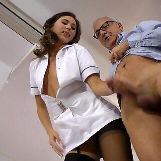Sexy stockinged nurse climbs onto cock