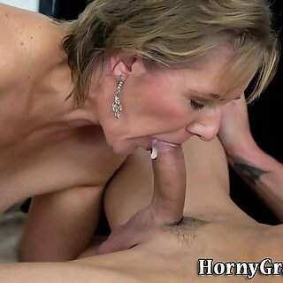 Grandmother gives blowjob