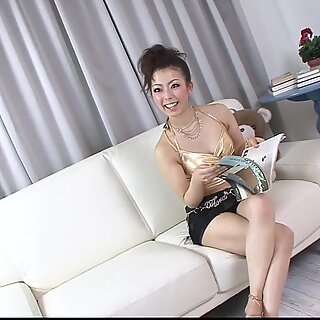 Gorgeous brunette woman sucking and humping on her hard dildo