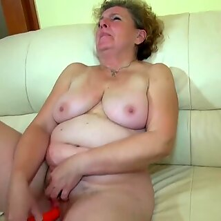 grandma masturbate with young couple on the bed