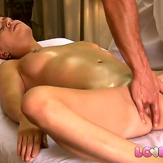 Love Creampie Horny young girl enjoys oily massage