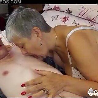 chubby grandmother Savana likes Hard Young Cock