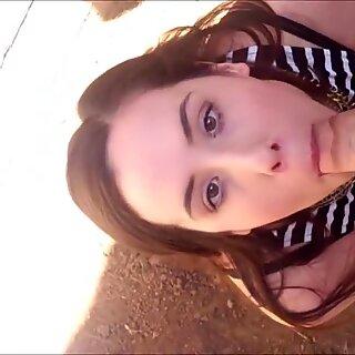 Brunette hottie BJ & sex Outdoors