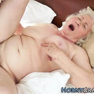 Old granny gets cumshot