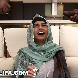 Mia Khalifa - Big Tits Arab Pornstar Cheats On BF with Two Black Studs