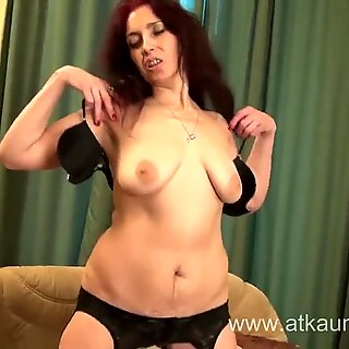 Sexy Milf Karolina masturbates wearing black stockings