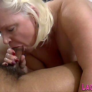 Grandmother with huge jugs sucks cock