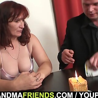 Her old pussy and mouth gets shared
