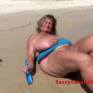 Huge saggy tits on the beach