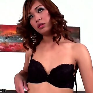 Redhead femboy in polka dot dress masturbates till cumshot