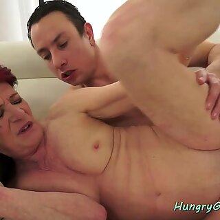 Redhead granny sucks and fucks