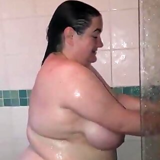 BBW wife in the shower with husbands cock