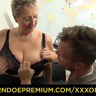 XXX OMAS - Large boobed mature blonde has office sex