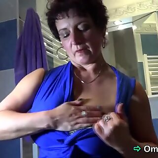 Juicy granny strips and teases