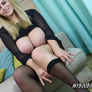 Huge Natural Boobs Babe Erin Star In Sexy High Heels And Stockings