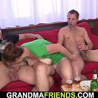 Hot threesome party with busty old lady