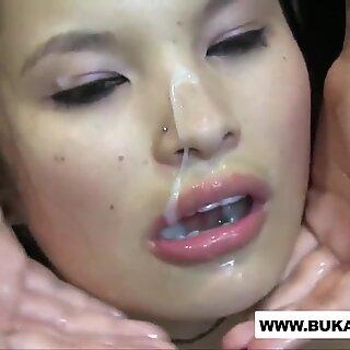 Super Cute Japanese Chick Showered in Cum Loads