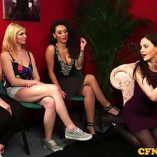 Tattooed cfnm babe bounces on subs cock