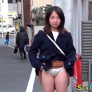 Asian babes flash panties